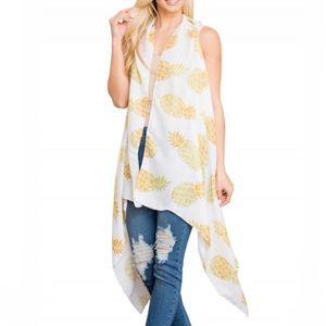 NEW White Pineapple Sleeveless Kimono Cardigan